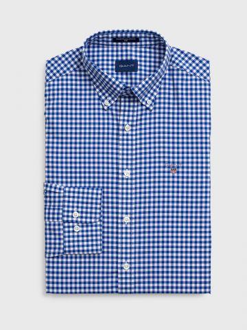 חולצת מכופתרת בהדפס משבצות Slim Fit / גברים