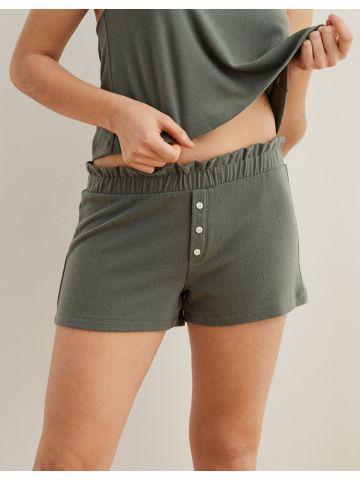 מכנסי בוקסר קצרים עם מלמלה