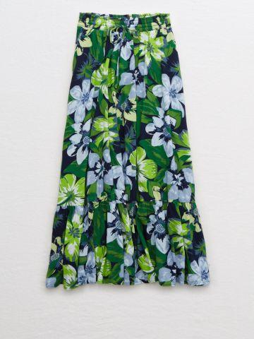 חצאית מידי פפלום בהדפס פרחים / נשים