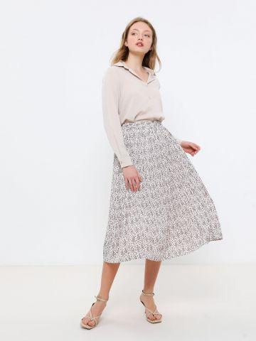 חצאית מידי פליסה בהדפס פרחים