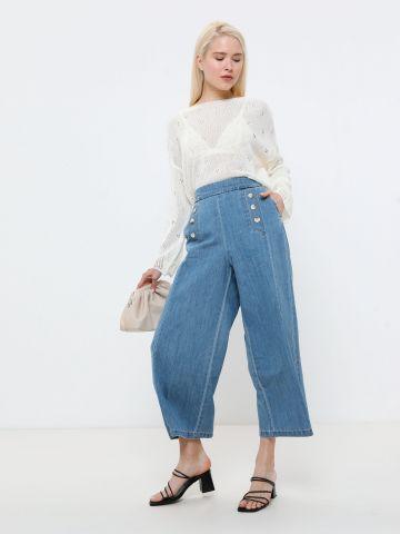 מכנסיים מתרחבים דמוי ג'ינס