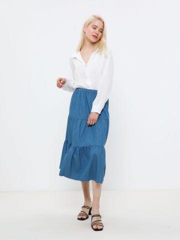 חצאית מידי קומות דמוי ג'ינס