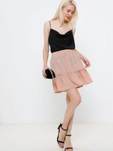 חצאית מיני קומות עם עיטורים מטאליים של YANGA