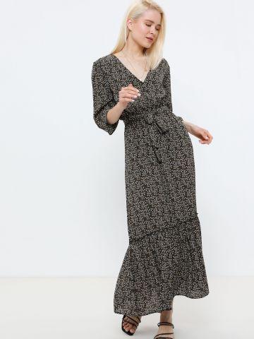שמלת מקסי פפלום בהדפס פרחים