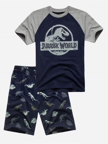 סט פיג'מה בהדפס דינוזאור / בנים