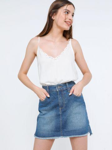 חצאית ג'ינס מיני עם פרנזים