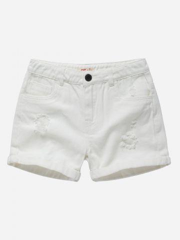מכנסי ג'ינס קצרים עם קרעים / בנות