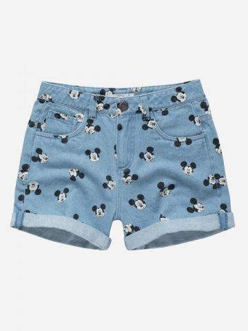 מכנסי ג'ינס קצרים בהדפס מיקי מאוס / בנות