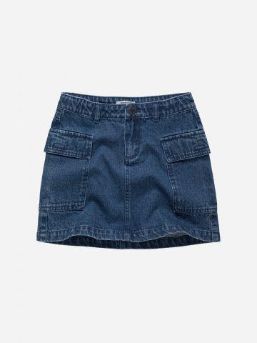 חצאית ג'ינס מיני עם כיסים / בנות