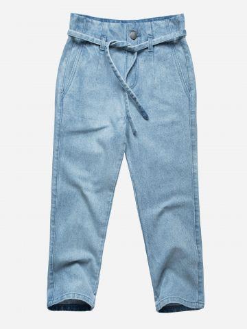 מכנסי ג'ינס ארוכים עם חוט קשירה / בנות