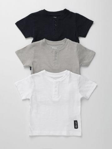 מארז 3 חולצות טי שירט עם כפתורים / 6M-3Y