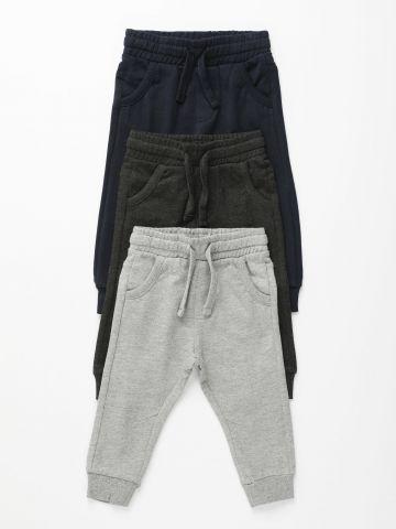 מארז 3 מכנסי טרנינג ארוכים עבים / 3M-3Y