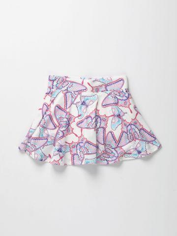 מכנסי חצאית בהדפס פרפרים / בנות