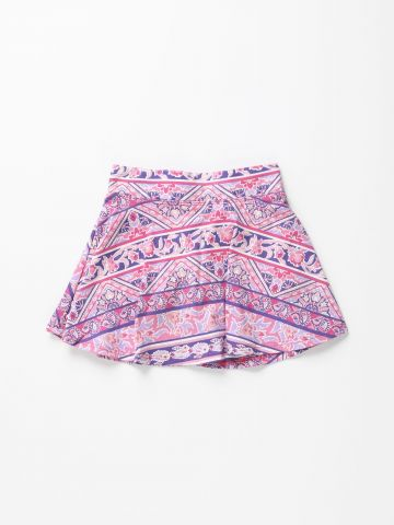 מכנסי חצאית מיני בהדפס צורות אתניות / בנות