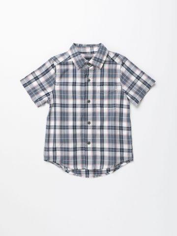 חולצה מכופתרת בדוגמת משבצות / בנים