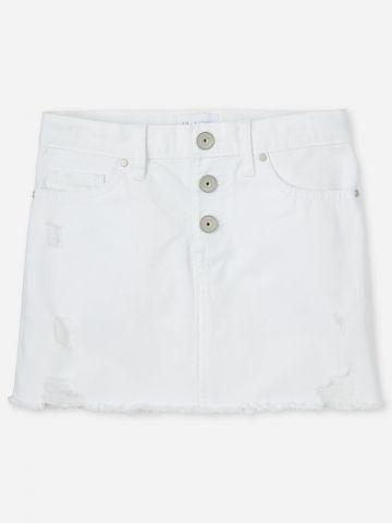 חצאית ג'ינס מיני עם כפתורים / בנות