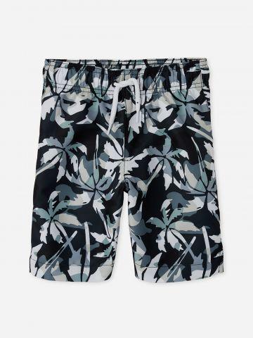 מכנסי בגד ים בהדפס עלים קמופלאז' / בנים