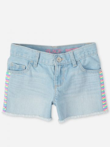 מכנסי ג'ינס קצרים עם עיטורי פייטים / בנות