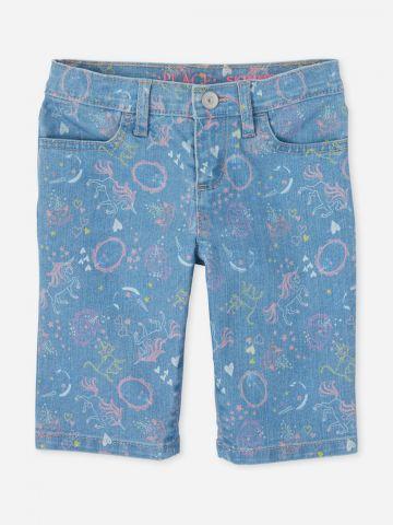 מכנסי ג'ינס קצרים בהדפס איורים / בנות