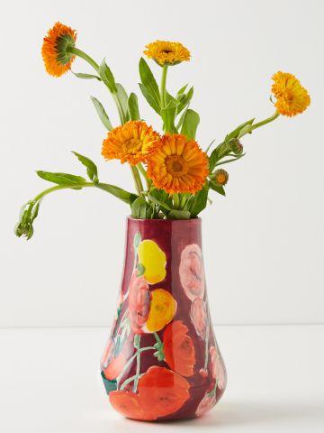 אגרטל חרסינה בדוגמת פרחים / בינוני