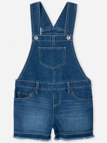 אוברול ג'ינס קצר עם סיומת פרומה / בנות