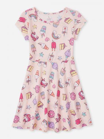 שמלת טי שירט בהדפס יוניקורן / בנות