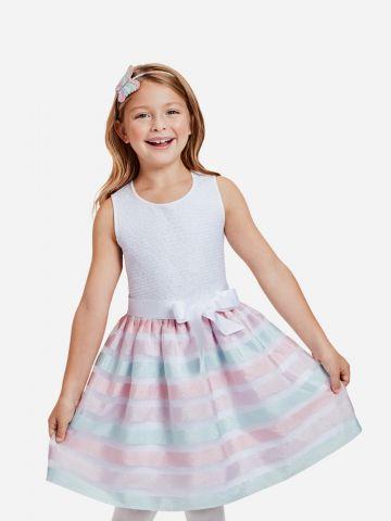 שמלת מיני תחרה עם פפיון / בנות