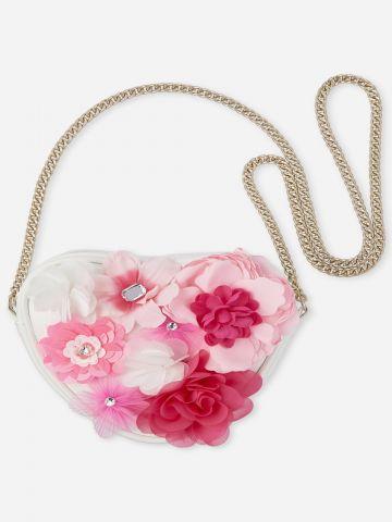 תיק צד עם עיטורי פרחים / בנות