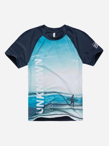 חולצת גלישה בהדפס ים / בנים