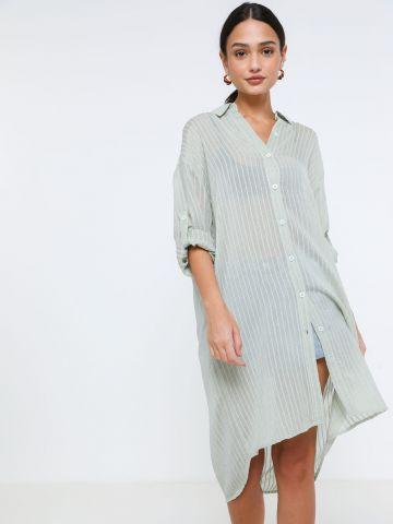 שמלת מיני מכופתרת שקפקפה