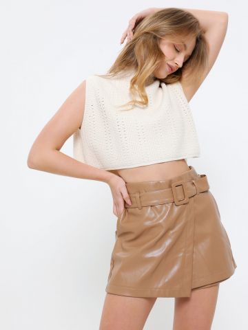 מכנסי חצאית קצרים דמוי עור של YANGA
