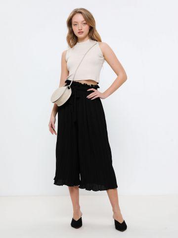 מכנסי פליסה עם חגורת קשירה של YANGA