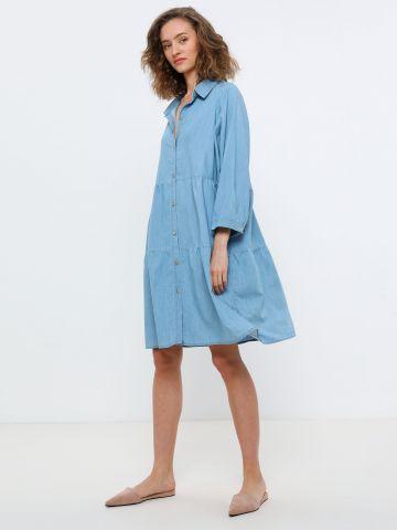 שמלת מיני מכופתרת דמוי ג'ינס של YANGA