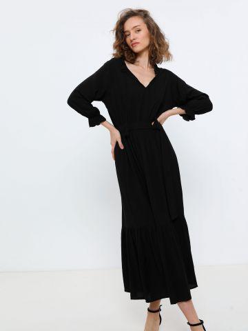 שמלת מקסי עם חגורה קשירה