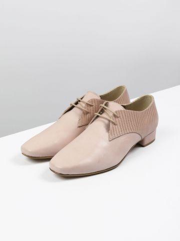 נעלי אוקספורד מעור בשילוב טקסטורת נחש / נשים
