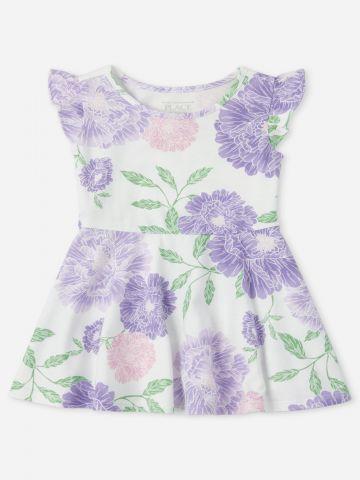 שמלה בהדפס פרחים עם מלמלה / 9M-4Y