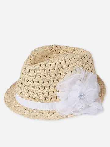 כובע קש עם עיטור פרח / בייבי