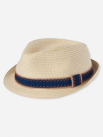 כובע קש עם רצועת בד / בייבי בנים