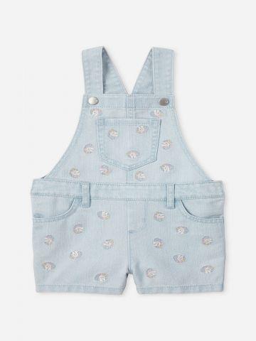 אוברול ג'ינס עם רקמת יוניקורן / 12M-4Y של THE CHILDREN'S PLACE