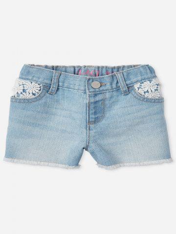 ג'ינס קצר עם רקמת פרחים / 9M-4Y
