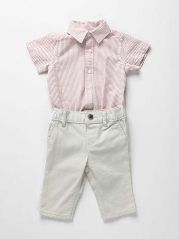 סט אוברול ומכנסיים ארוכים / 0-18M