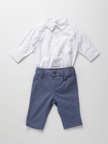 סט אוברול בהדפס ומכנסיים ארוכים / 0-18M