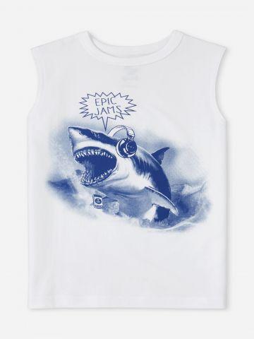 גופייה עם הדפס כריש / בנים