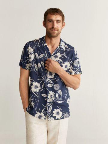 חולצה מכופתרת בהדפס הוואי
