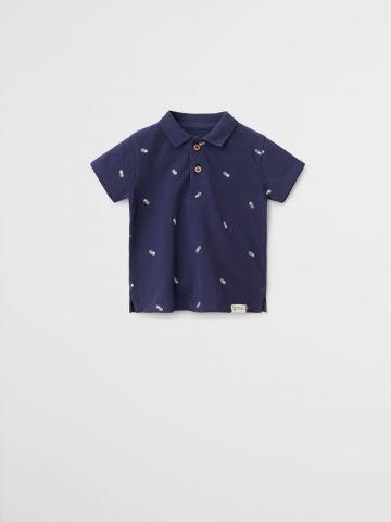 חולצת פולו בהדפס אננסים \ 9M-4Y