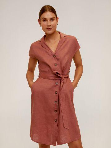 שמלת מיני מכופתרת פשתן בשילוב חגורה