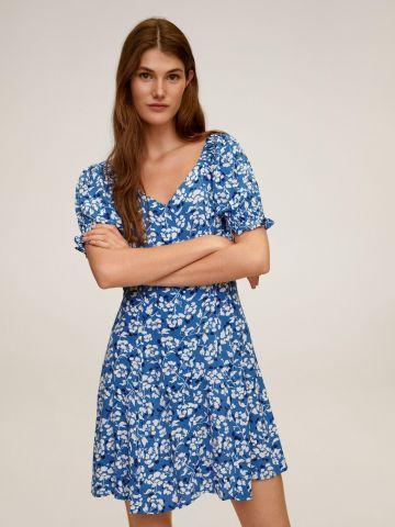 שמלת מיני מכופתרת בהדפס פרחים של MANGO
