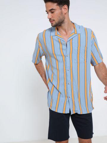 חולצה מכופתרת קצרה בהדפס פסים UO