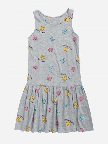 שמלת פפלום בהדפס לבבות / בנות