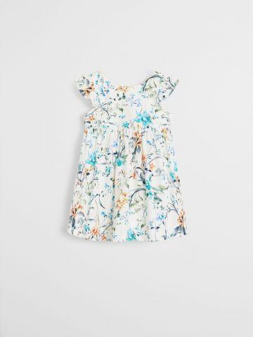 שמלה בהדפס פרחים בשילוב מלמלה / 9M-4Y